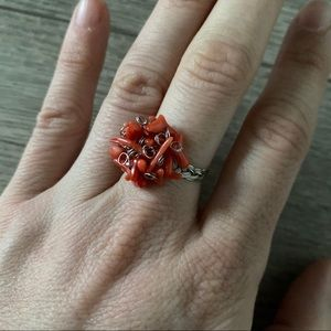 Coral and wire handmade ring